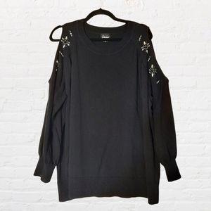 SIMPLY EMMA Black embellished rhinestone long sleeve sweater